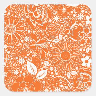 Botanical Beauties Orange Square Sticker