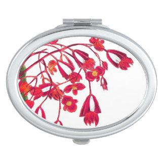 Botanical Begonia Flowers Floral Compact Mirror