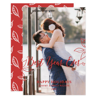 Botanical Best Year NewlyWeds Photo Holiday Card