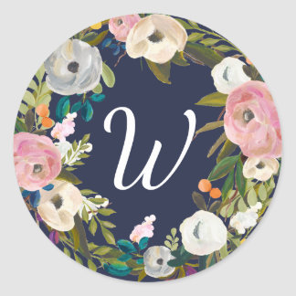Botanical Bliss Custom Color Monogram Stickers