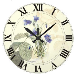 Botanical Blue Campanula clockface Large Clock