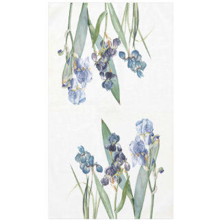 Botanical Blue Iris Flowers Redoute Tablecloth