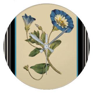 Botanical Blue Morning Glory Flower Floral Stripes Clocks