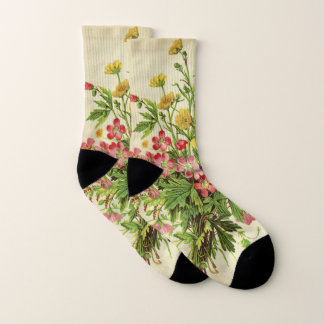 Botanical Bouquet Floral Antique Flowers Girly Socks