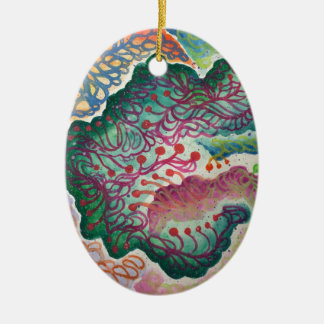 Botanical Breath Watercolor Ceramic Ornament