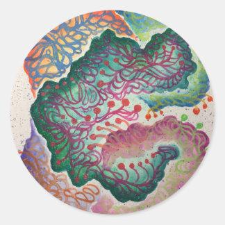Botanical Breath Watercolor Classic Round Sticker
