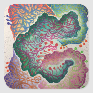 Botanical Breath Watercolor Square Sticker