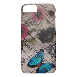 botanical butterfly burlap french country iPhone 8/7 case
