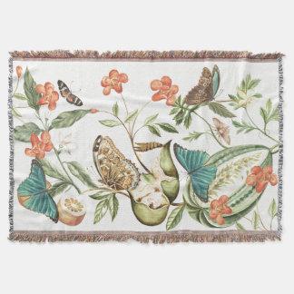Botanical Butterfly Fruit & Flowers Throw Blanket