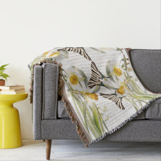 Botanical Butterfly Narcissus Flower Throw Blanket