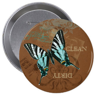 Botanical Butterfly Vintage Clean Dirty Dishwasher 4 Inch Round Button