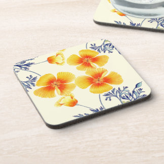 Botanical California Poppy Flowers Floral Coaster