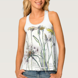 Botanical Cats Ear Wildflower Flowers Tank Top