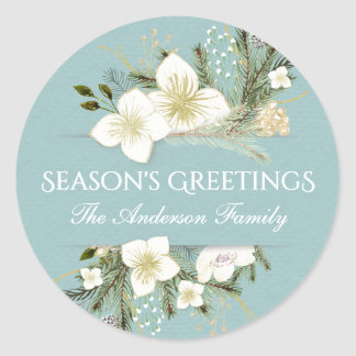 Botanical Christmas Floral Bouquet Holiday Round Sticker