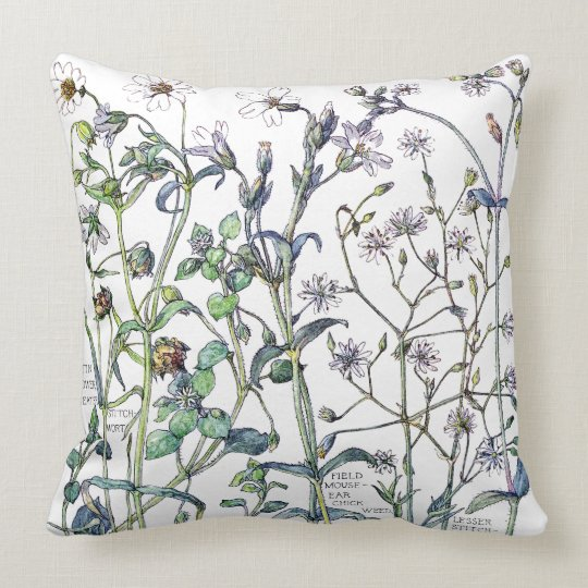 Botanical Columbine Chickweed Flowers Throw Pillow