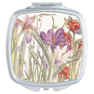 Botanical Crocus Iris Flowers Compact Mirror