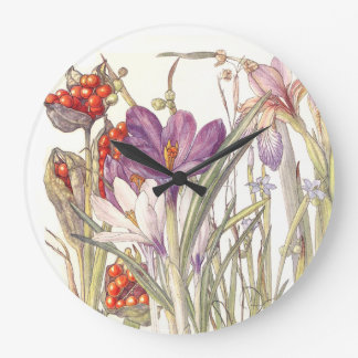 Botanical Crocus Iris Flowers Floral Wall Clock