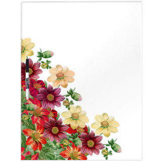 Botanical Dahlia Flowers Floral Message Board Dry Erase Whiteboard