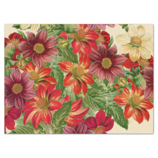 Botanical Dahlia Flowers Floral Tissue Paper