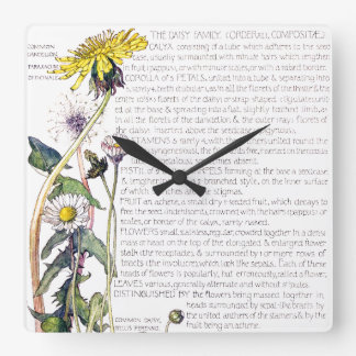 Botanical Daisy Family Flowers Floral Wall Clock
