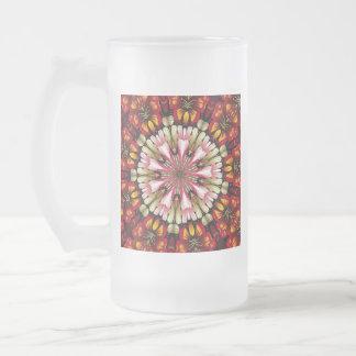 Botanical Dreams Mandala Frosted Glass Beer Mug