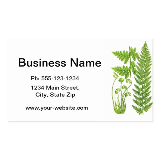 Botanical Fern Illustration No.7 Tropical Decor Business Card Template
