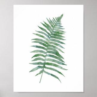 Botanical Fern Leaf Green Watercolor Nature Plant Poster
