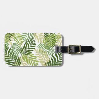 Botanical Fern Leaves Pattern on White Luggage Tag