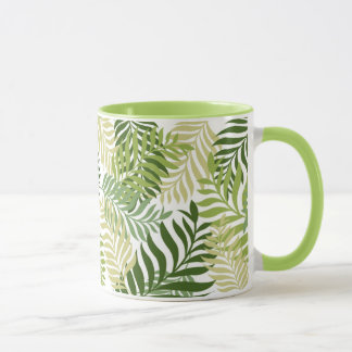 Botanical Fern Leaves Pattern on white Mug