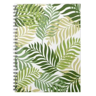 Botanical Fern Leaves Pattern on White Notebook