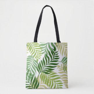 Botanical Fern Leaves Pattern on White Tote Bag