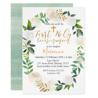 Botanical First Holy Communion Invitation