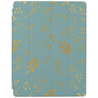 Botanical Floral Leaves Faux Gold Foil Slate Blue iPad Cover