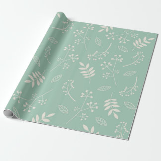 Botanical Floral Leaves Greenery Mint Teal Wrapping Paper