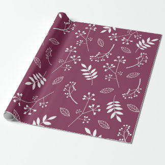 Botanical Floral Leaves Greenery Pastel Purple Wrapping Paper