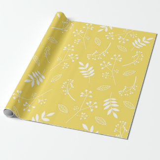 Botanical Floral Leaves Greenery Sun Yellow Wrapping Paper