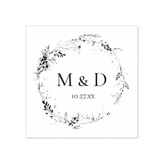 Botanical Floral Monogram Wedding Rubber Stamp