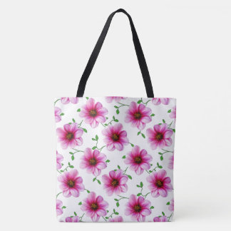 Botanical Floral Pink on any Colour Tote Bag
