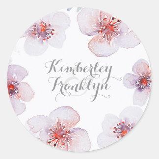 Botanical Floral Watercolor Elegant Modern Wedding Classic Round Sticker