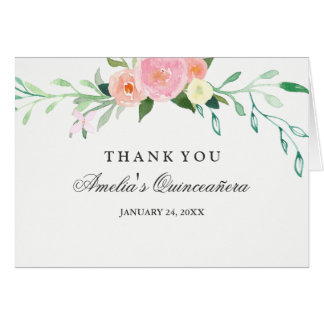 Botanical Floral Watercolor Quinceanera Thank You Card