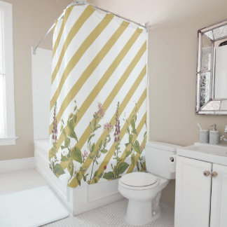 Botanical Flowers Gold White Stripe Shower Curtain