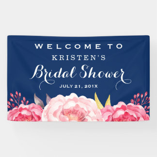 Botanical Flowers Navy Blue Bridal Shower Banner