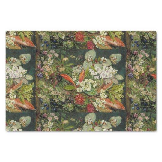 Botanical Flowers on Dark Background Tissue Paper