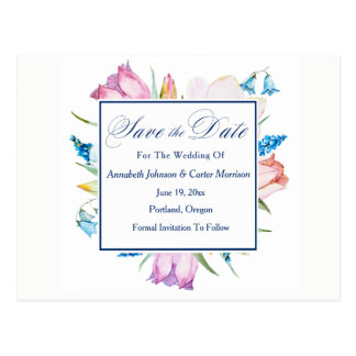 "Botanical Flowers ""Save The Date"" Postcard"