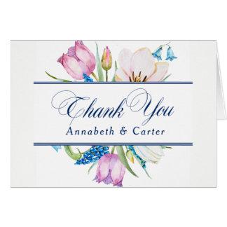 "Botanical Flowers ""Thank You"" Card"