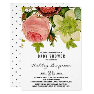 Botanical Flowers Vintage Baby Shower Invitation