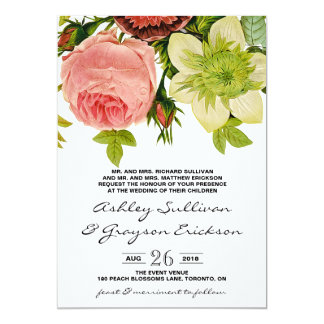 Botanical Flowers Vintage Wedding Card