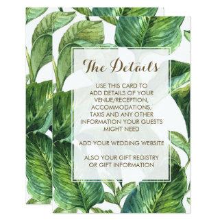 botanical foliage palm leaves wedding details card