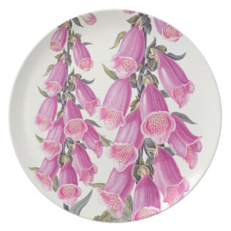 Botanical Foxglove Flowers Floral Plate