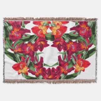 Botanical Gladiola Flowers Floral Throw Blanket